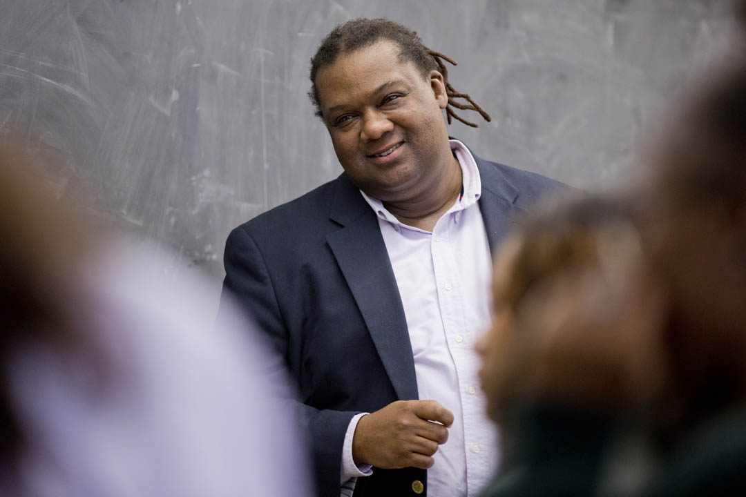 "Associate Professor of African American Studies Myron Beasley speaks with students in his course ""Introduction to African American Studies."" (Phyllis Graber Jensen/Bates College)"