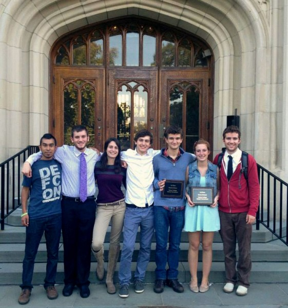 Bates debaters, include novice winning team Zoe Seaman-Grant '17 (second from right) and Matthew Kahn '17 (third from right) gather after the Vassar tournament. (BQDC)
