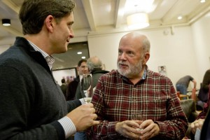 Darrell Crate '89, a member of the Board of Trustees, talks with Michael Murray, the college's Charles Franklin Phillips Professor of Economics. (Phyllis Graber Jensen/Bates College)