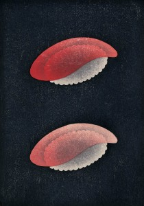 """Red and Fatty Tunas,"" a woodcut by Shoji Miyamoto on view in the exhibition ""Redefining the Multiple."""