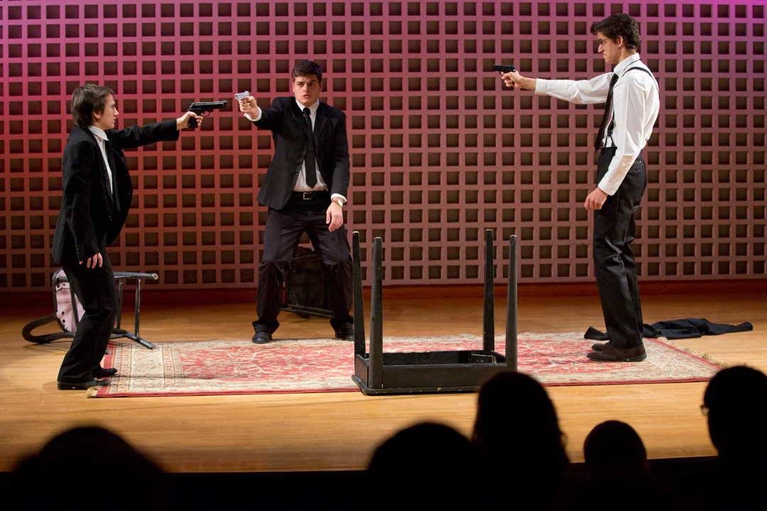 "Robinson Players Veronica Durando '16, Colin McIntire '16 and John Goodman '15 perform ""Tarantino Variation"" during Homecoming Weekend in the Olin Arts Center Concert Hall. (Phyllis Graber Jensen/Bates College)"