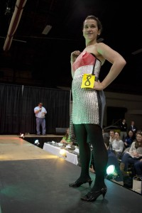 Hannah Cover '17 won the Most Creative award at the 2013 Trashion Show. (Sarah Crosby/Bates College)