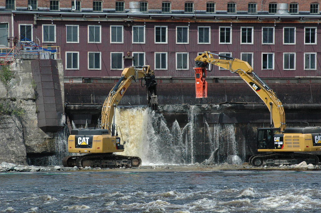 The breaching of the Veazie Dam on the Penobscot River in July 2013. Photograph copyright © 2013 by the Penobscot Trust.