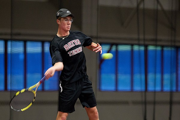 Tim Berg '14 of Lakewood Ranch, Fla., plays at the No. 1 spot for Bates men's tennis team. (Phyllis Graber Jensen/Bates College)