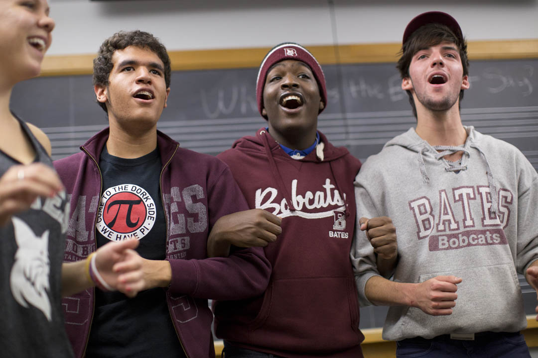 Members of the Crosstones, a co-ed a cappella ensemble, rehearse in the Olin Arts Center. (Phyllis Graber Jensen/Bates College)