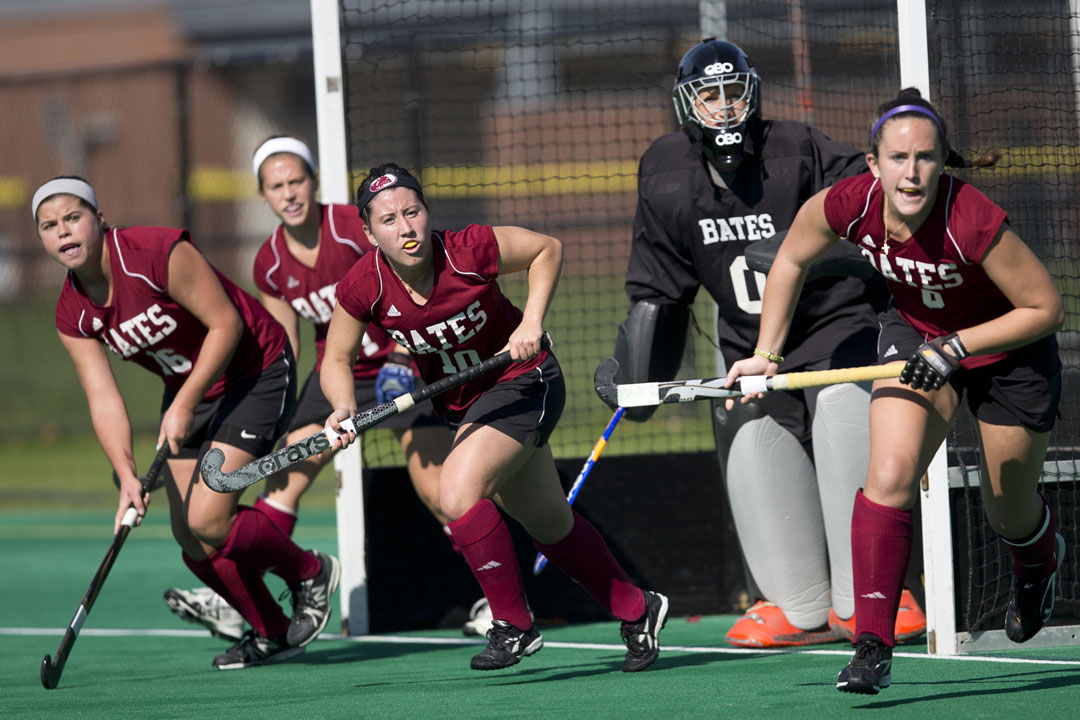 Becca Otley (0) made 19 saves behind teammates (left to right) Sarah Warden, Lexie Carter, Bridget Meedzan and Jillian Conway in a 1-0 loss at Williams on Oct. 26, 2013. (Phyllis Graber Jensen/Bates College)