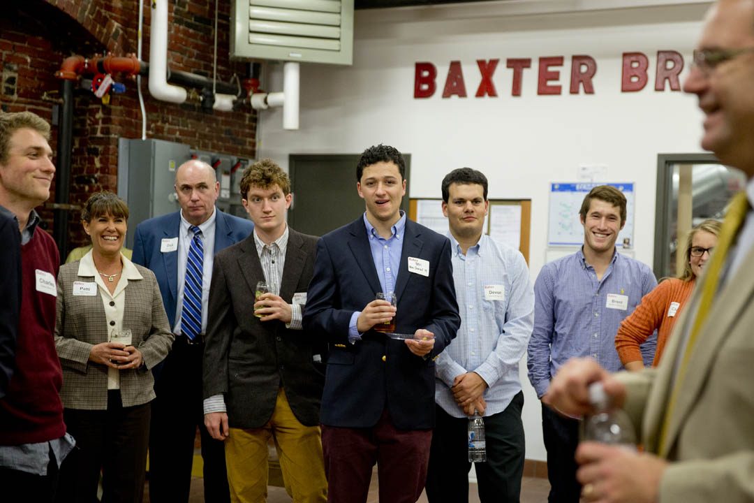 Bates students attend the Second Annual Networking Event at Baxter Brewing company, co-hosted  with the Androscoggin Valley Chamber of Commerce.  The Bates Career Development Center invited participants to meet  local employers to discuss opportunities for internships and job shadows. (Phyllis Graber Jensen/Bates College)