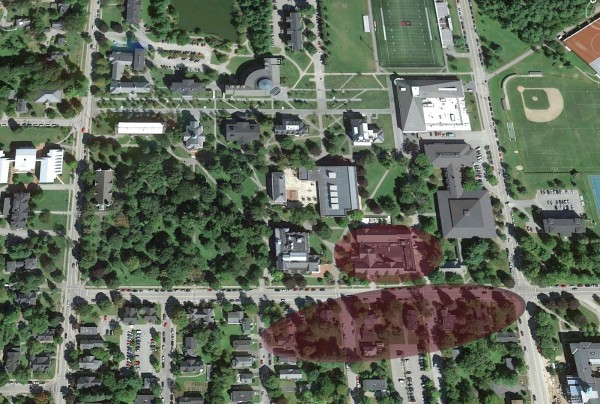 The two shaded ovals in this aerial view of campus represent the general focus of the Campus Life Project along Campus Avenue. The lower oval shows the location of future residence halls, including space for the College Store. The upper oval shows Chase Hall. This illustration is not intended to show a specific project footprint. (Map data: Google Earth)