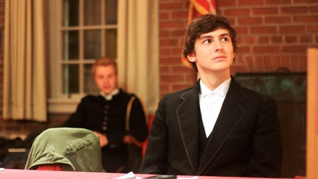 Dmitriy Redkin '17 plays Thomas Jefferson during a Halloween-week debate in which Brooks Quimby Debate members debated as Revolutionary War characters.