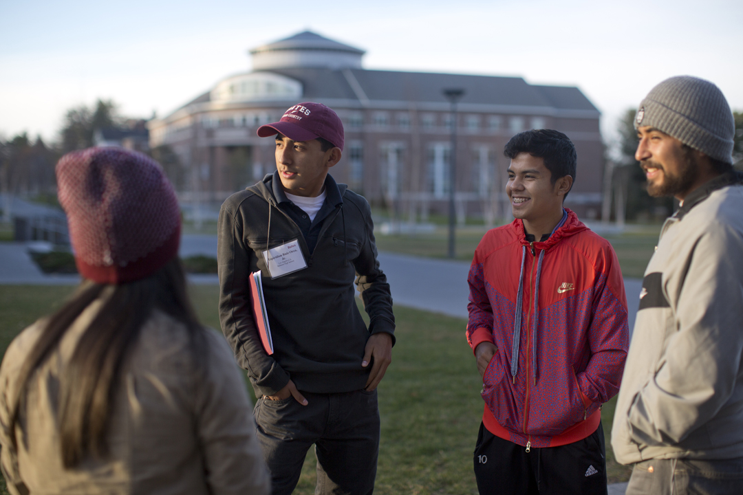 Students participate in an Admission program on the Bates campus.  (Phyllis Graber Jensen/Bates College)