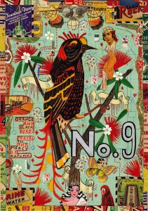 """Orange and Black Bird"" (2012), mixed media on paper by Tony Fitzpatrick. From the Museum of Art show ""Remix"" (see Museum of Art, below)."
