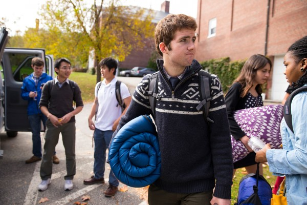 Chris Crum '17 of Littleton, Colo., and fellow debaters get ready for yet another van trip, this time to Harvard in October. (Phyllis Graber Jensen/Bates College)