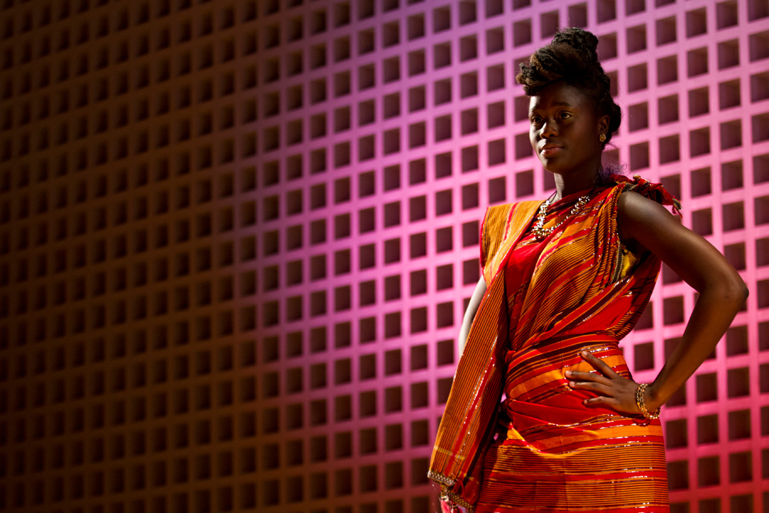 Fatima Sacko '17 of New York City models for the annual Inside Africa Fashion Show. (Sarah Crosby/Bates College)