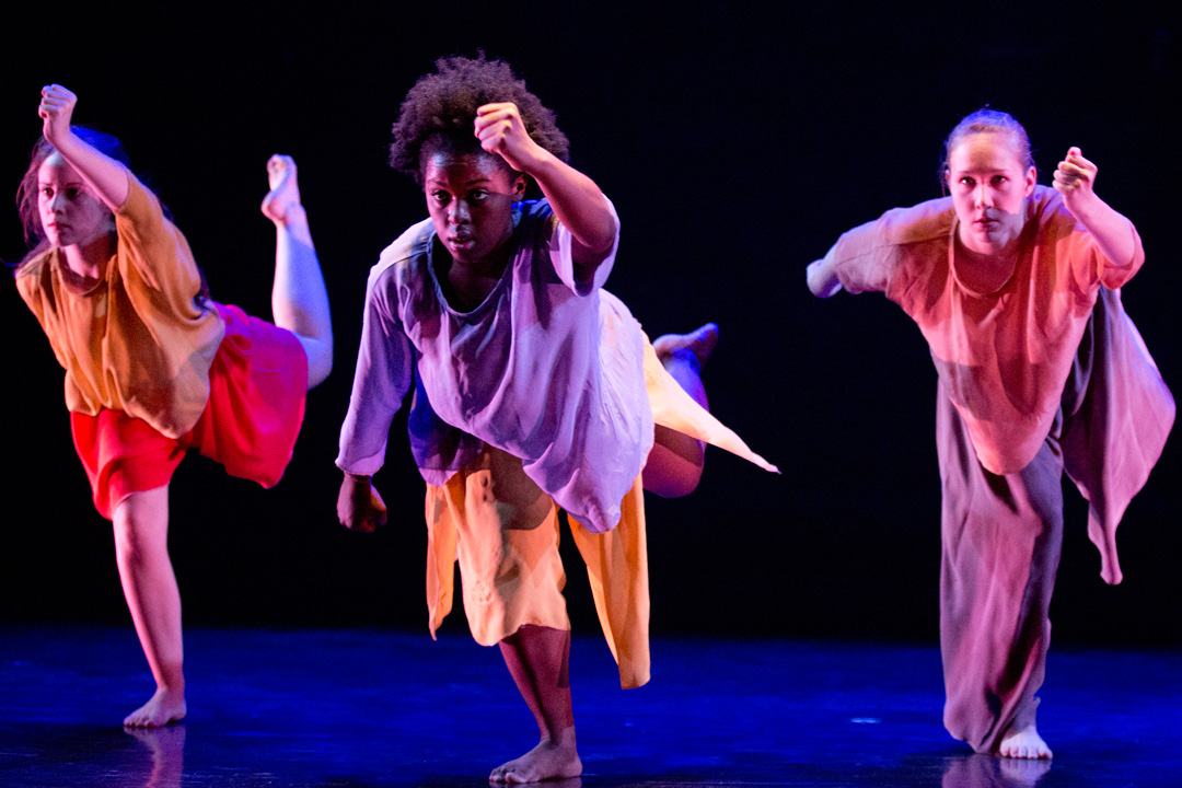 "Bates modern dancers perform an excerpt from the 2004 Urban Bush Women piece ""Walking with Pearl….Africa Diaries."" (Phyllis Graber Jensen/Bates College)"