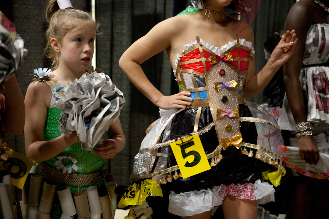 The annual Trashion Show, pits students, staff and other Bates community members against one another in a friendly quest to make recycling fashion-forward. The well-attended event takes place every year before November break and directly after Harvest Dinner. (Sarah Crosby/Bates College)