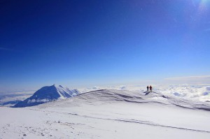 This photograph shows the landscape on Denali at 17 Camp, so named for its 17,000-foot elevation.