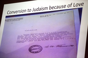 An image from Baumann's presentation showing a document certifying her conversion to Judaism during the ascent of Nazi anti-Semitism. (Phyllis Graber Jensen/Bates College)