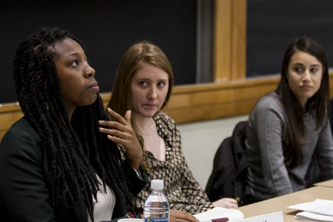 During a morning MLK Day 2014 workshop, Nikki Rankine '11 talks about her experience founding the Bates Coalition Against Discrimination. (Sarah Crosby/Bates College)