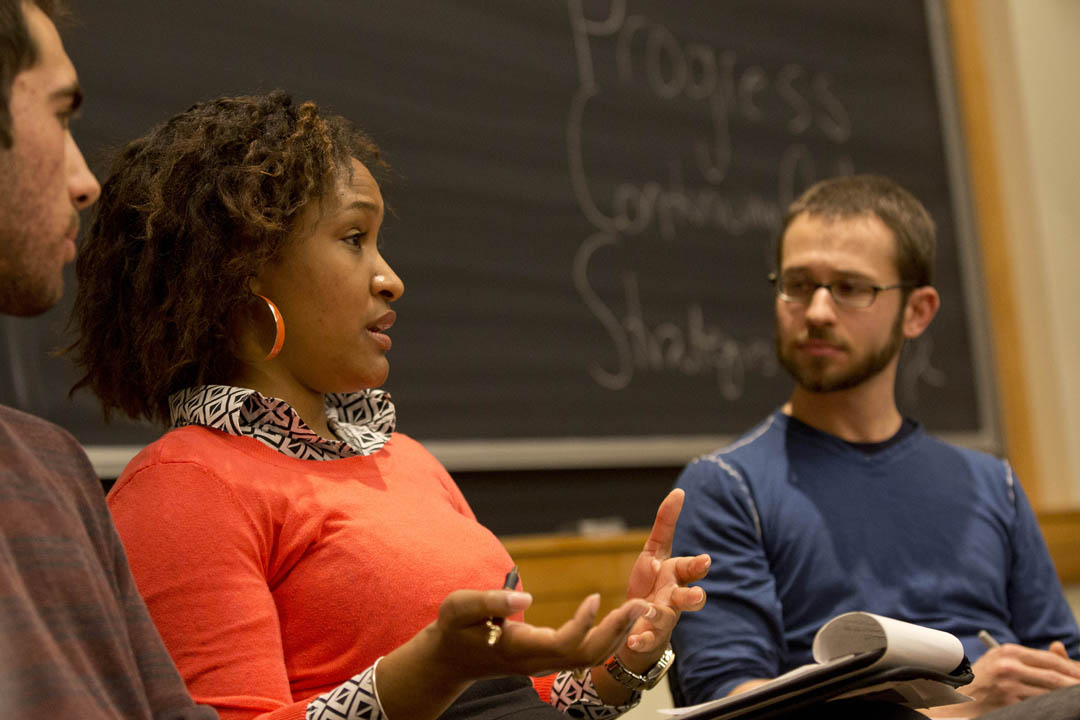 "Alyse Bigger '12 and Craig Saddlemire '05 took part in the workshop ""Activism: The Dirty Word,"" in which students and alumni discussed the challenges and satisfactions of activism. (Phyllis Graber Jensen/Bates College)"