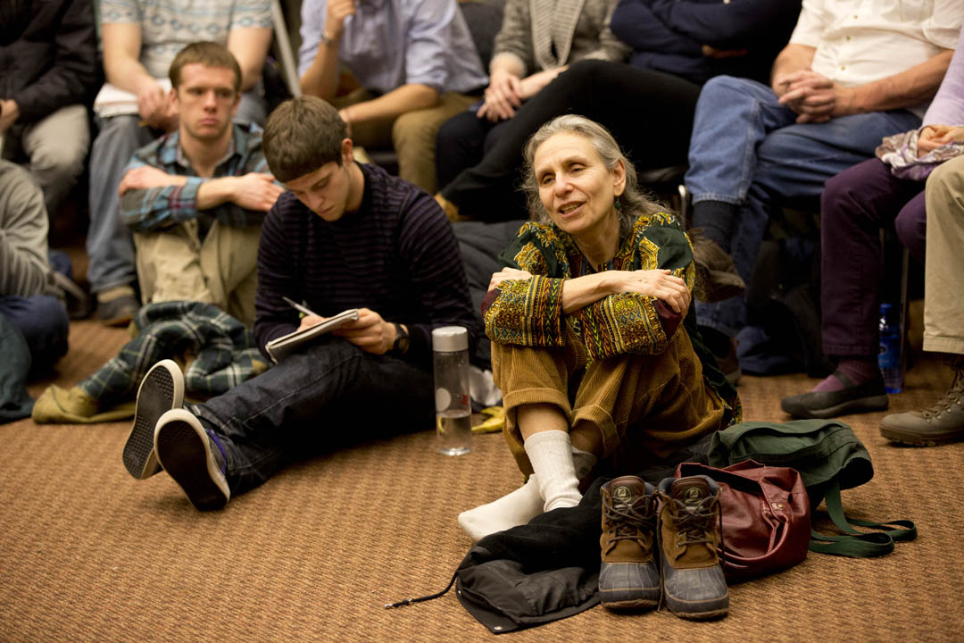 Professor Emerita of Mathematics Bonnie Shulman responds to a question about how to balance post-graduation employment with activism. (Phyllis Graber Jensen/Bates College)