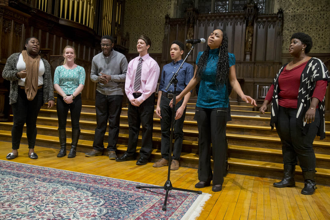 "The Gospelaires perform ""I Just Can't Give Up Now."" (Phyllis Graber Jensen/Bates College)"