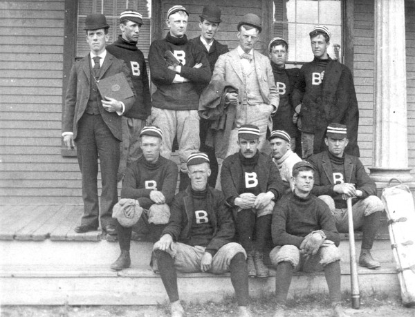 The 1892 Bates baseball team, which posted a 7–1 record en route to the state title. (Muskie Archives and Special Collections Library)