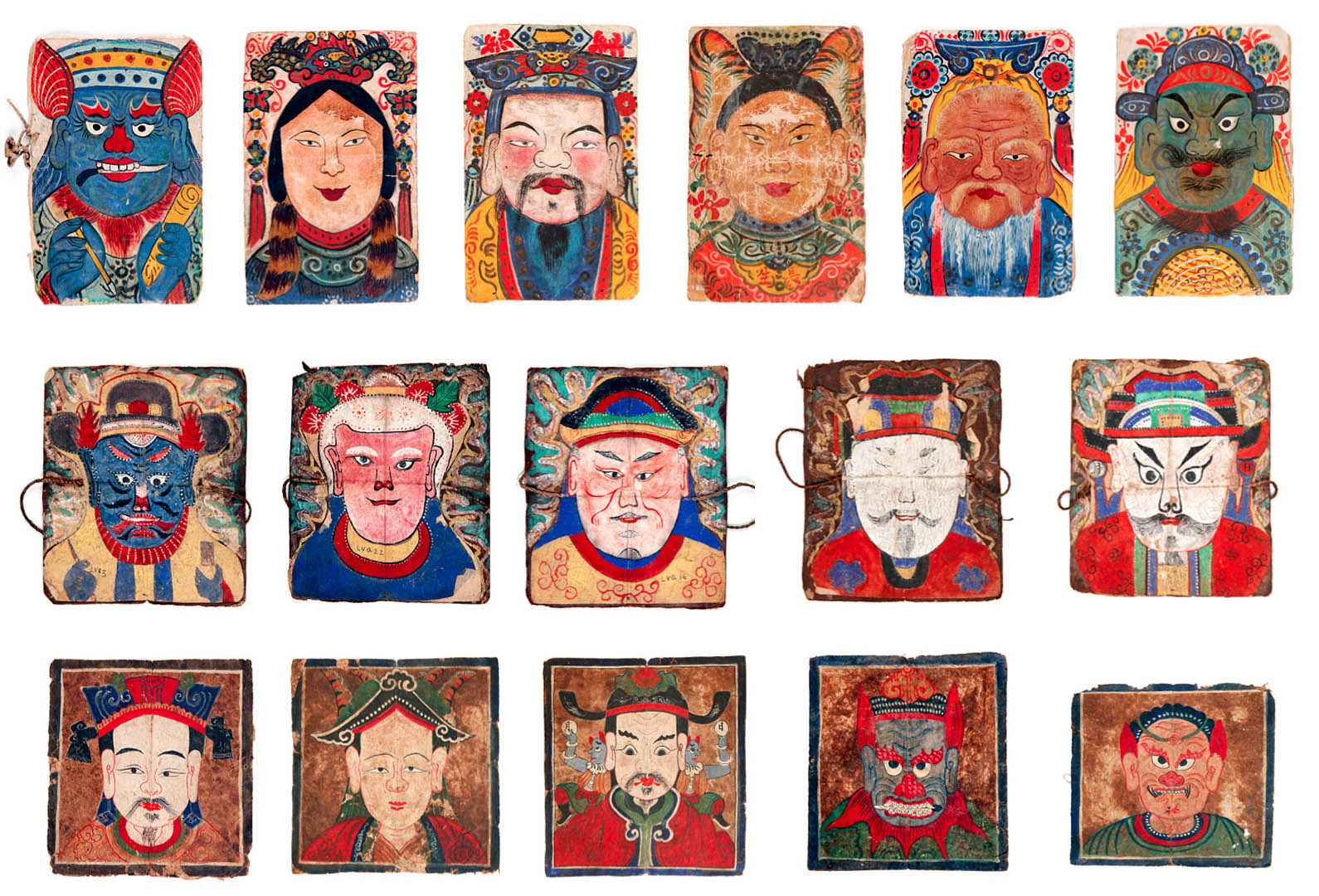"Paper masks used in shaman rituals of the Yao people of Vietnam. From the Museum of Art exhibition ""How to Make the Universe Right."""