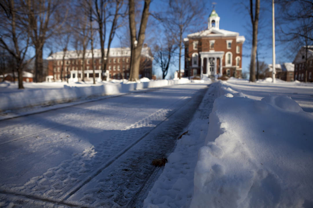 A freshly plowed path leads to Hathorn Hall, the first Bates building and still a campus centerpiece. (Sarah Crosby/Bates College)