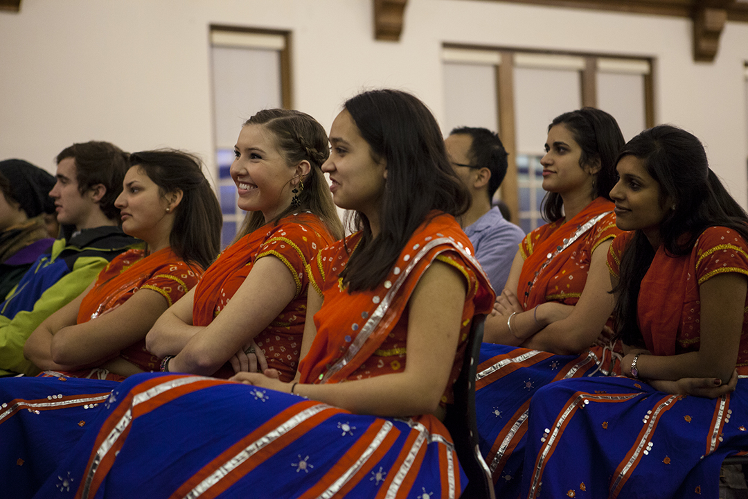 Bates Bollywood dancers enjoy a ballroom dancing performance in the Big Room of Memorial Commons. (Sarah Crosby/Bates College)