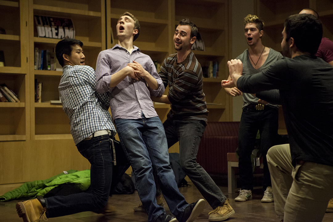 Members of The Manic Optimists cut up during their performance. (Sarah Crosby/Bates College)