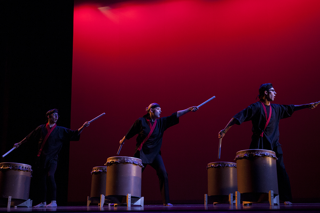 The Bates College Taiko Club offers a lively presentation of Taiko, a traditional drumming and performance art of Japan. (Sarah Crosby/Bates College)