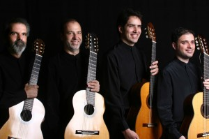 The Brazilian Guitar Quartet performs at Bates on Feb. 1. From left: Tadeu do Amaral, Everton Gloeden, Gustavo Costa and Luiz Mantovani.