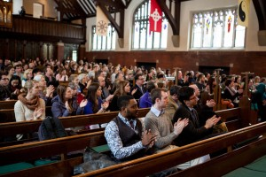 Appreciating the presenters during the 2014 Martin Luther King Jr. Day keynote session at Bates College. (Sarah Crosby/Bates College)