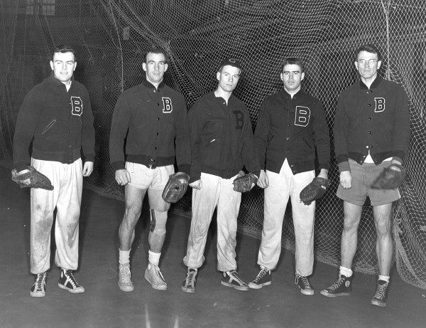 Unidentified baseball players pose for a photo in Gray Athletic Building in the 1950s. (Muskie Archives and Special Collections Library)