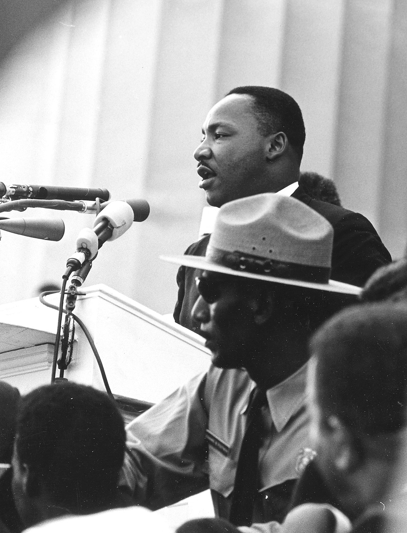 The Rev. Martin Luther King Jr. speaks at the March on Washington, Aug. 28, 1963. (Rowland Scherman / National Archives)