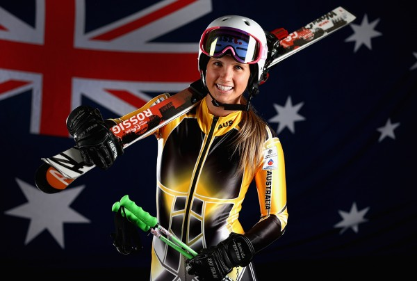Emily Bamford '15 poses for an Olympics photo shoot. (Robert Cianflone/Getty Images)