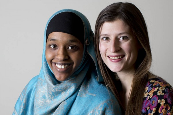 The 2013 Phillips Fellows, Asha Mohamud '15 and Rachel Baumann '14. (Phyllis Graber Jensen/Bates College)