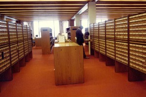 The Ladd Library card catalog of the 1970s has given way to its latest iteration: an online catalog based on a single database shared by Bates, Bowdoin and Colby colleges.