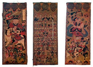 "Painted scrolls used as religious objects in northern Vietname, from the Bates museum exhibit Painted scrolls in the exhibition ""How to Make the Universe Right."""