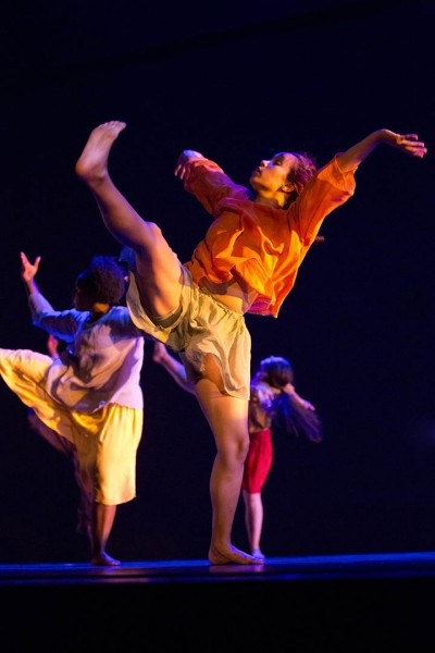 Shown are Colleen Fitzgerald '14 and other members of the Bates Dance Company.