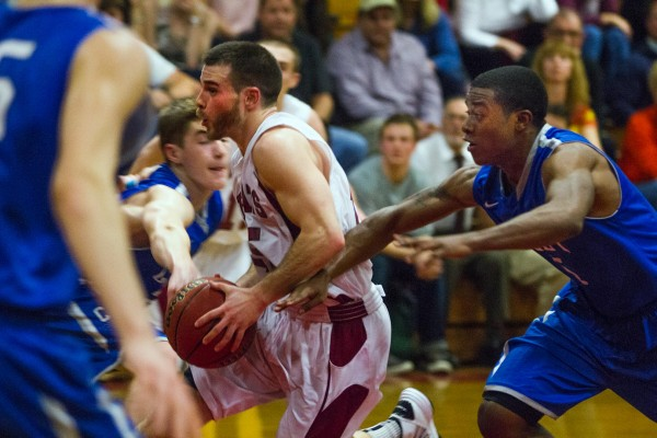 CBB hoops action in Alumni Gym is always fast and furious. (Phyllis Graber Jensen/Bates College)