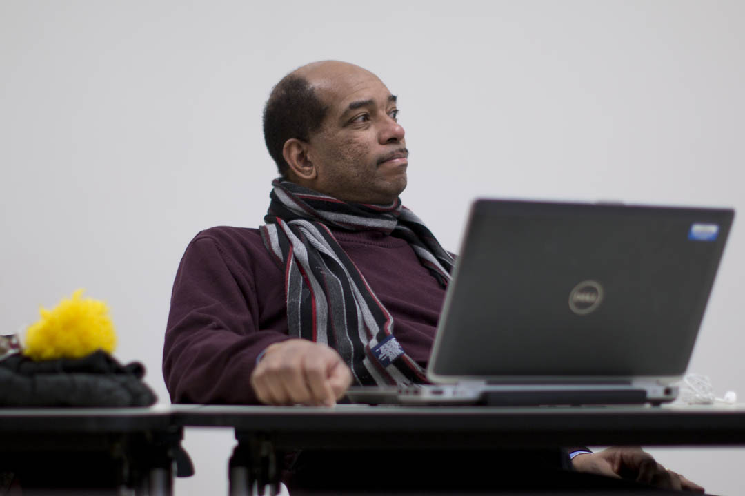 Associate Dean of Students James Reese participates in a planning meeting for the Martin Luther King Jr. Day Committee. (Phyllis Graber Jensen/Bates College)