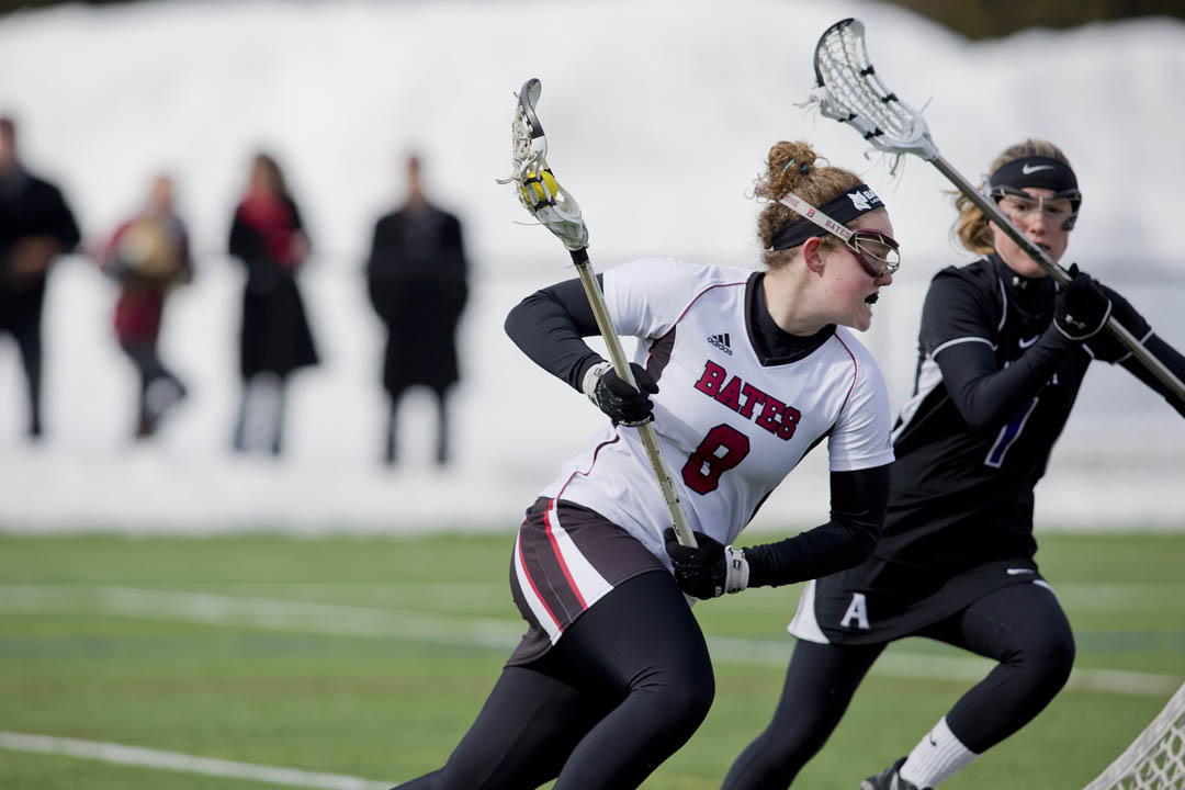Lacrosse player Moriah Greenstein '16 had five points in the Bobcats' NESCAC opener vs. Amherst. (Phyllis Graber Jensen/Bates College)