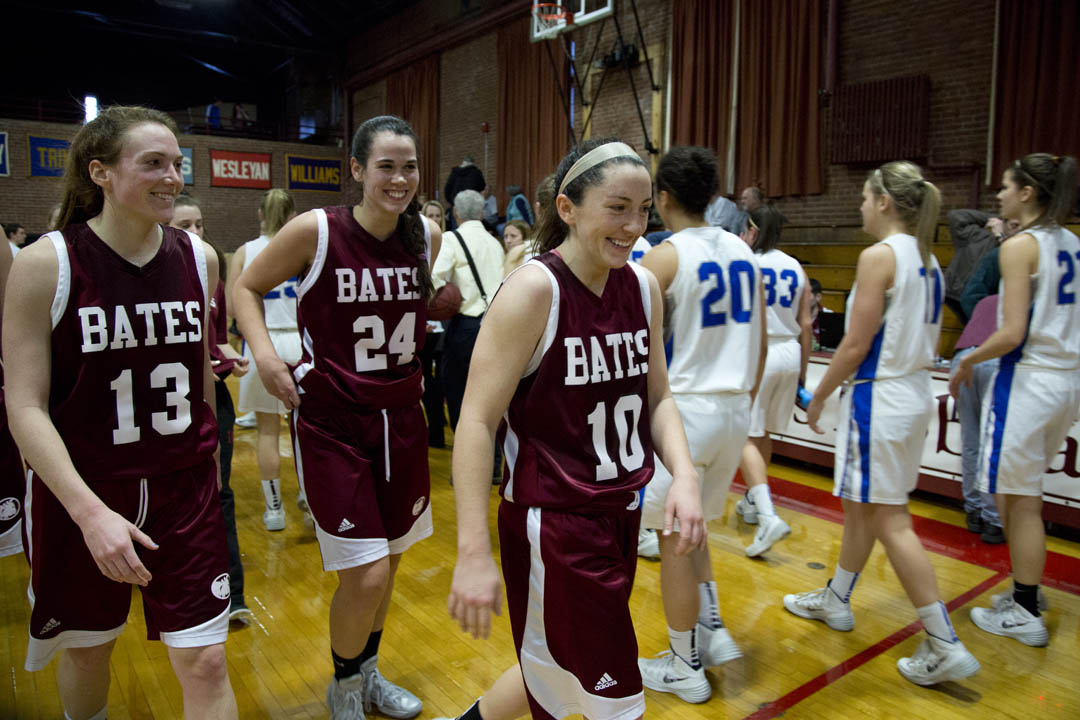 The Bates women's basketball team ended its season with a 67-40 win over Colby in Alumni Gymnasium. (Phyllis Graber Jensen/Bates College)