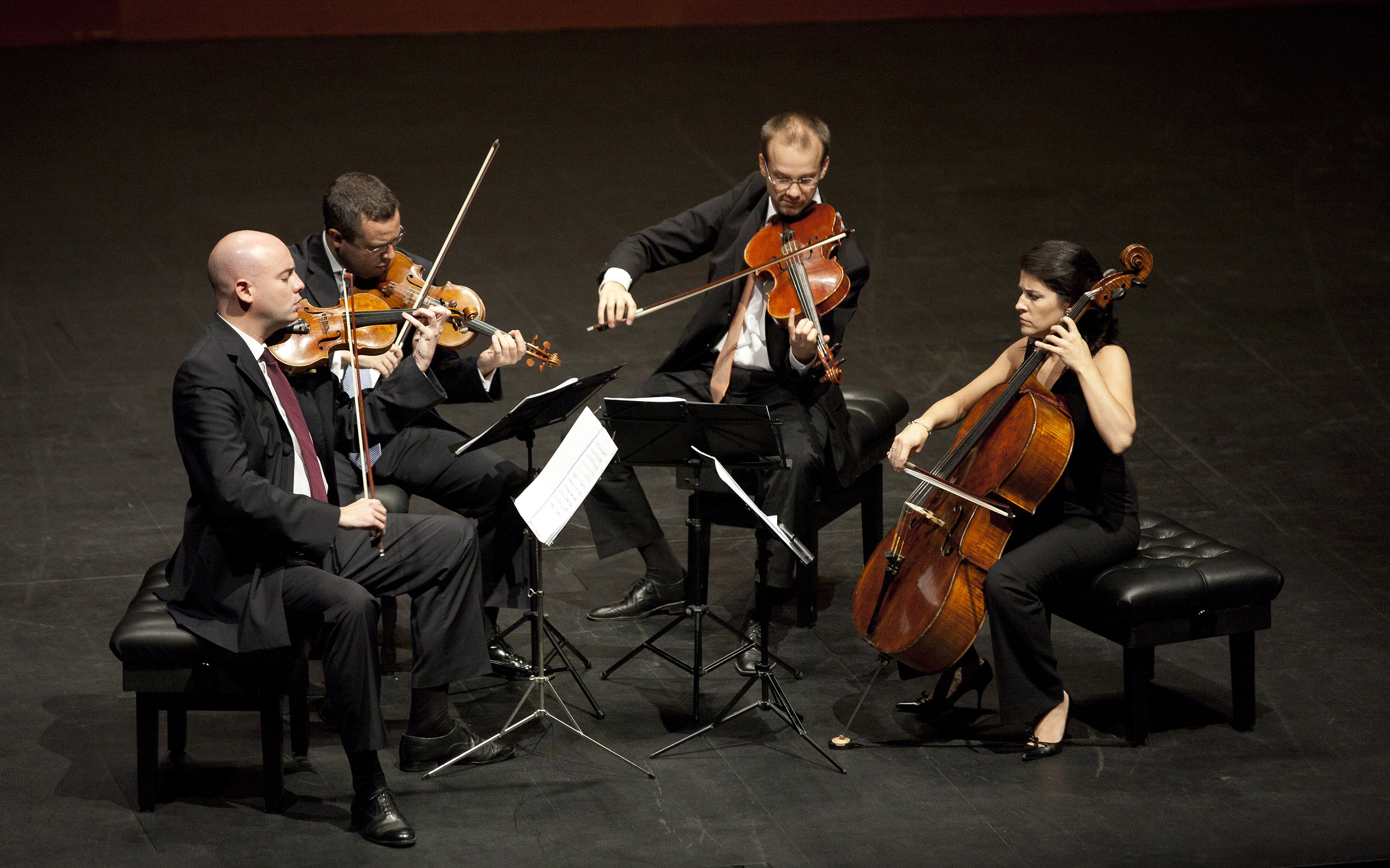 The Spanish string quartet Cuarteto Quiroga in performance, photographed by Íñigo Ibáñez/Quincena Musical.