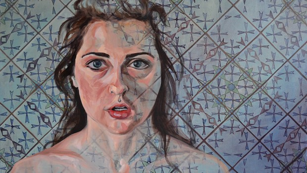 """Ashley,"" an oil painting on canvas by Mahala Sacra, on display in the 2014 Senior Thesis Exhibition."