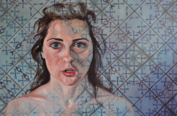 """Ashley,"" an oil painting by Mahala Sacra, on display in the Senior Thesis Exhibition."
