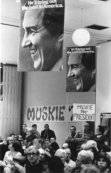 Popular memory holds that Muskie's campaign collapsed after an allegedly teary press conference in New Hamphire. In reality, the reasons were more complex, including a campaign of dirty tricks from President Nixon's Committee for the Reelection of the President. (Edmund S. Muskie Archives and Special Collections Library)