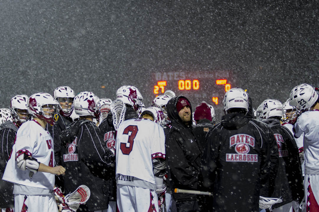 The final score competes with the weather for the honor of most surreal aspect of the night. (Sarah Crosby/Bates College)