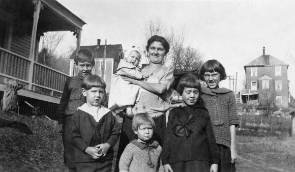 Edmund Muskie is at back left with his siblings and his mother, Josephine. (Photograph courtesy of the Muskie Archives and Special Collections Library)